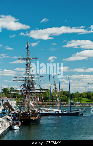 Six Tall ships docked in the Old Port of Montreal - Stock Photo