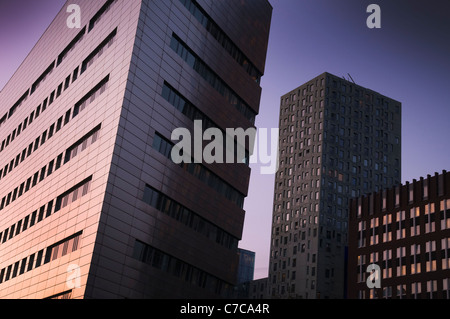 Office buildings in evening light. Rotterdam, The Netherlands. - Stock Photo