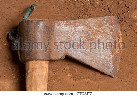 African farming tool weapon - possibly Tanzanian Tanzania Africa (but probably made in China) - Stock Photo