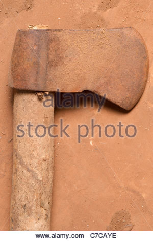 African farming tool weapon - possibly Tanzanian Tanzania Africa (Axe iron probably made in China attached to local - Stock Photo