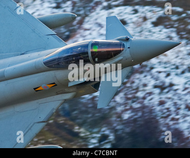 Royal Air Force Eurofighter Typhoon aircraft on a low flying training flight over the hills of mid Wales, shot from - Stock Photo