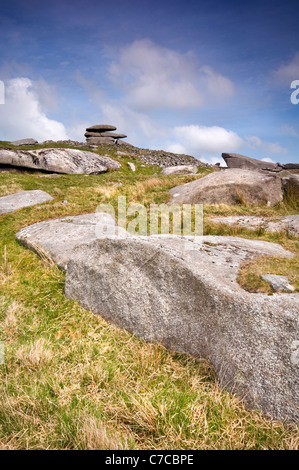 Showery Tor near Rough Tor on Bodmin Moor in Cornwall, England - Stock Photo
