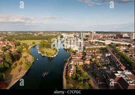 Aerial view, Reading, Berkshire, UK - Stock Photo