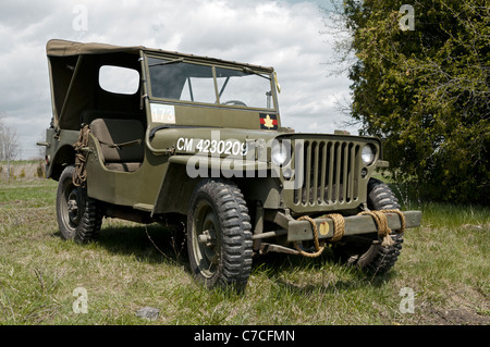 A WWII Jeep with Canadian markings. (Colour palette has been adjusted to approximate Band of Brothers.) - Stock Photo