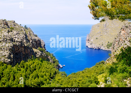 Escorca Sa Calobra beach in Mallorca balearic island from Spain - Stock Photo