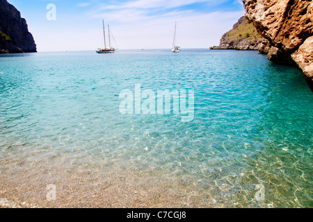 Escorca Sa Calobra beach in Mallorca balearic islands Torrent de Parlos - Stock Photo