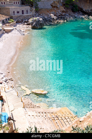 Sa Calobra beach from high point of view in Escorca Mallorca in Balearic islands - Stock Photo