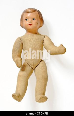 old doll toy isolated in white - Stock Photo