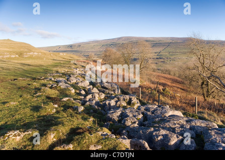 View of Buckden Pike from near Yockenthwaite - Stock Photo