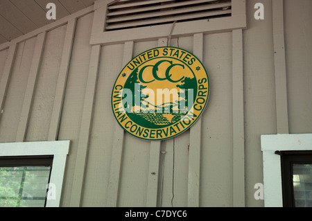 O'Leno State Park North Florida CCC Civilian Conservaton Corps emblem on Ranger Station - Stock Photo