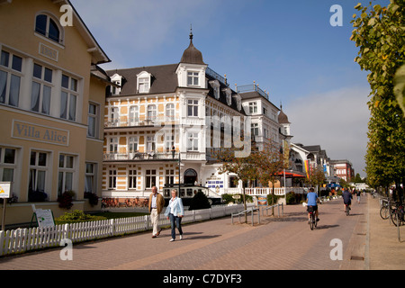 special historist style Architecture Baederarchitektur and the promenade at the seaside resort Ahlbeck, Usedom island, - Stock Photo