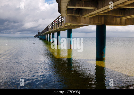 under the pier at Binz, Ruegen, Mecklenburg Vorpommern, Germany - Stock Photo