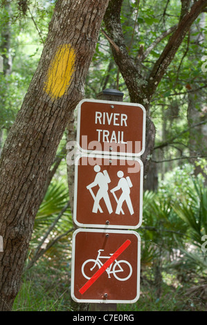 O'Leno State Park North Florida signs along hiking trail - Stock Photo