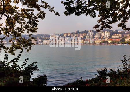 View of the city of Lugano Parco Civico out. - Stock Photo