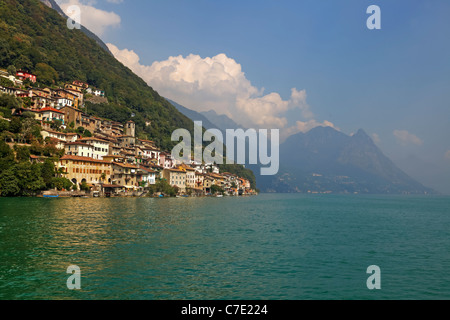 Gandria is located on the shores of Lago di Lugano, Switzerland - Stock Photo