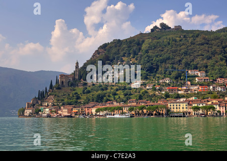 Morcote is an idyllic village, situated on the Lago di Lugano - Stock Photo