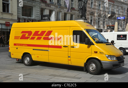 dhl international express delivery service in operation in russia stock photo royalty free. Black Bedroom Furniture Sets. Home Design Ideas