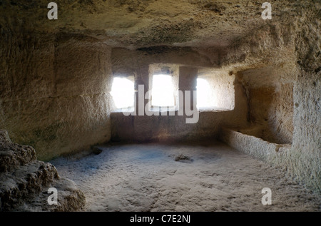 Çufut Qale cave city Jewish Fortress,  Bakhchisarai, Crimea, Ukraine - Stock Photo