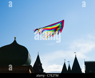 The colorful kite flying above the Russian tzar's palace - Stock Photo