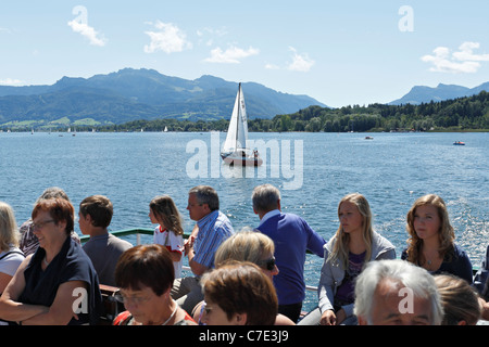 Passengers on a Chiemsee Ferry Boat, Chiemgau Upper Bavaria Germany - Stock Photo