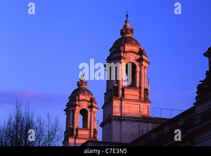 The two towers of Cardiff Law Courts at sunset Cardiff South Wales UK - Stock Photo