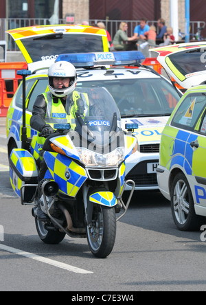 Police officer, motorcycle police officer on duty, Britain, UK - Stock Photo