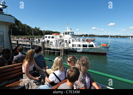 Passengers on a Chiemsee Ferry Boat at the Herreninsel, Chiemgau Upper Bavaria Germany - Stock Photo