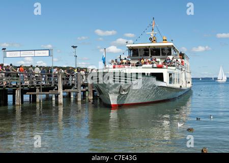 Chiemsee Ferry Boat at the Herreninsel, Chiemgau Upper Bavaria Germany - Stock Photo