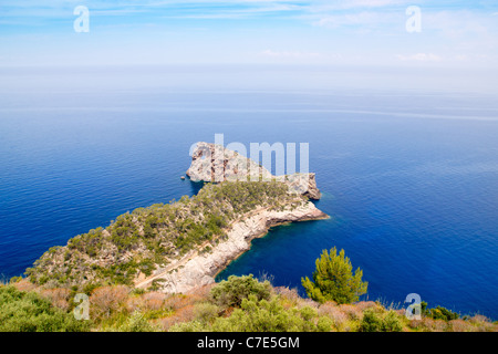 Deia Sa Foradada in mediterranean Majorca view from Can Marroig - Stock Photo