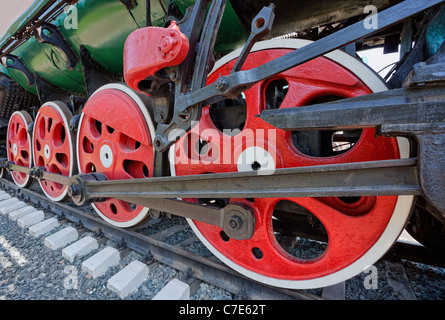 Old steam locomotive wheels - Stock Photo