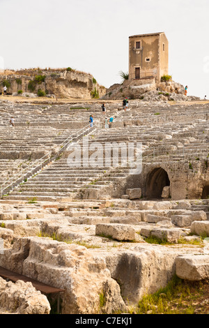 Greek Amphitheatre, Neapolis Archaeological Park, Syracuse, Sicily, Italy - Stock Photo