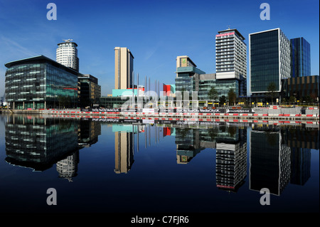 The new home of the BBC in the north at Media City, Salford, Greater Manchester, England. - Stock Photo