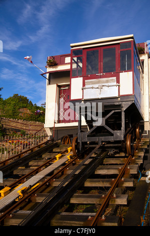 This funicular railway operates on the cliffs of Babbacombe a part of Torquay in Devon, England - Stock Photo