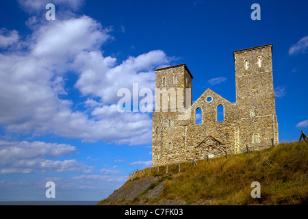The ruins of the 12th Century church of St Mary's in Reculver, Herne Bay in Kent, England - Stock Photo