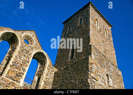 Tower and wall of the ruins of the 12th Centiry church of St Mary's in Herne Bay, Kent, England - Stock Photo