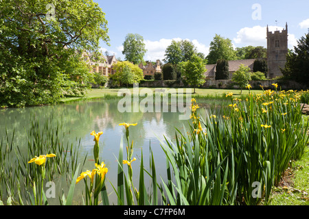 Stanway House and St Peters church in the Cotswold village of Stanway, Gloucestershire - Stock Photo
