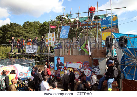 The barricade at the entrance to the illegal travellers site at Dale Farm near Basildon Essex - Stock Photo