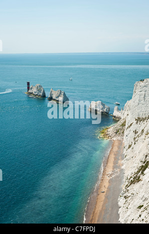 The Needles, lighthouse and chalk cliffs, Isle of Wight, UK - Stock Photo