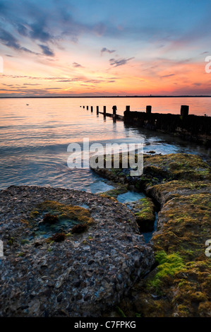 Sunset at Colwell Bay, Isle of Wight, UK - Stock Photo