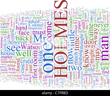 Word Cloud Based on Arthur Conan Doyle's Holmes Novels - Stock Photo
