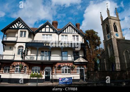 The Bell Inn and St Mary's Parish Church, Hampton, Surrey, England, UK - Stock Photo