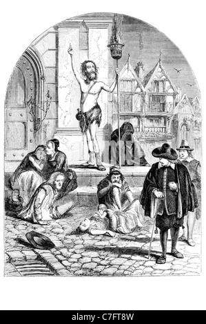 Great Plague enthusiast denouncing London Black Death 1665 1666 outbreak disease Kingdom England killed bubonic - Stock Photo