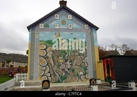 loyalist uvf memorial mural wall mural painting rathcoole north belfast northern ireland - Stock Photo