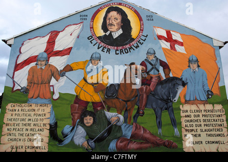 oliver cromwell protestant loyalist wall mural painting west belfast northern ireland - Stock Photo