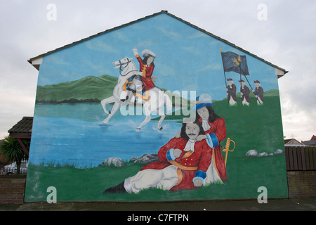 king billy king james battle of the boyne loyalist wall mural painting west belfast northern ireland - Stock Photo