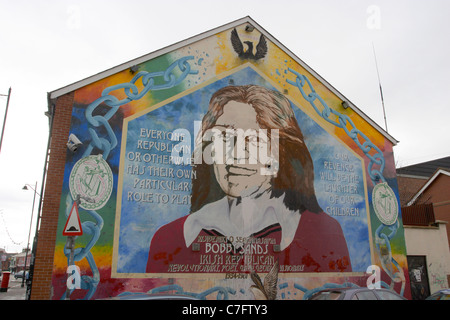 Nationalist mural west belfast stock photo royalty free for Bobby sands mural