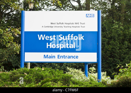 Entrance sign for the West Suffolk Hospital in Bury St Edmunds. - Stock Photo