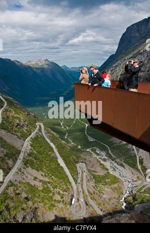 Scenic observation platform overlooking Trollstigen (Troll's Ladder) switchback mountain road in Norway's Romsdal - Stock Photo