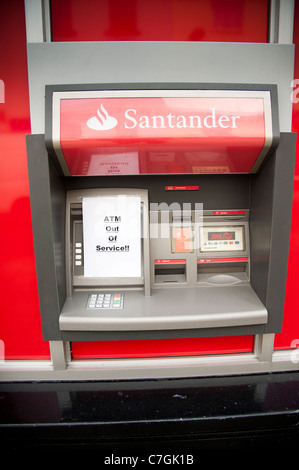 a Santander, ATM cash point machine out of service - Stock Photo