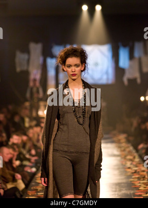 Female model on catwalk at fashion show, Reykjavik Iceland - Stock Photo
